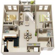 نقشه خانه سه خوابه