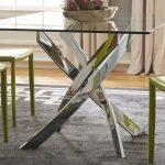 میز ناهار خوری پایه فلزی با رویه استیل، شیشه ای یا چوبی